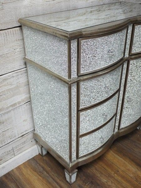 Crackle Mirrored Cabinet Silver Sparkly Broken Glass